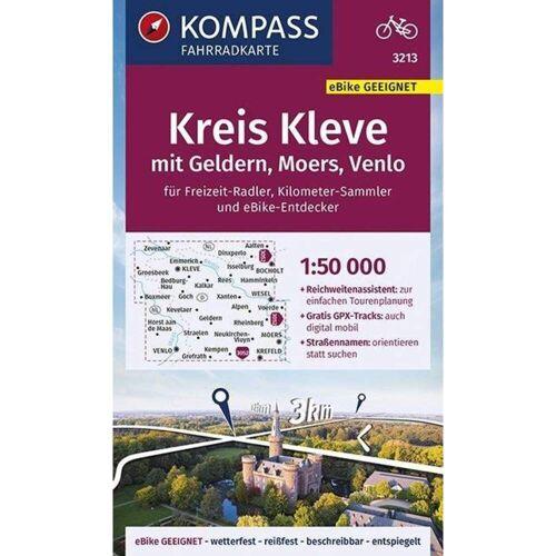 KOMPASS Fahrradkarte Kreis Kleve mit Geldern, Moers, Venlo 1:50.000, FK 3213 -  Fahrradkarten