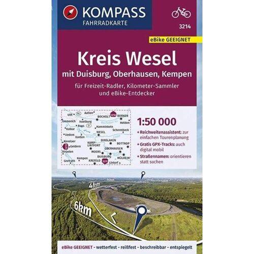 KOMPASS Fahrradkarte Kreis Wesel mit Duisburg, Oberhausen, Kempen 1:50.000, FK 3214 -  Fahrradkarten