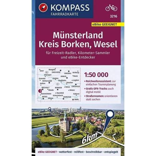 KOMPASS Fahrradkarte Münsterland, Kreis Borken, Wesel 1:50.000, FK 3216 -  Fahrradkarten