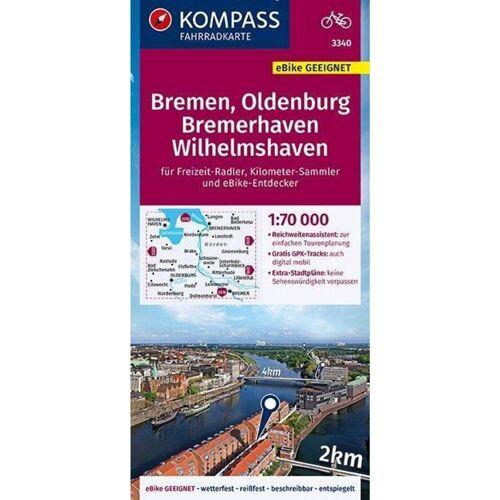 KOMPASS Fahrradkarte Bremen, Oldenburg, Bremerhaven, Wilhelmshaven 1:70.000, FK 3340 -  Fahrradkarten