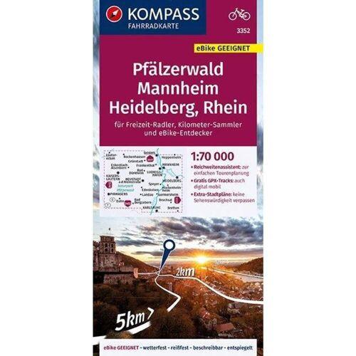 KOMPASS Fahrradkarte Pfälzerwald, Mannheim, Heidelberg, Rhein 1:70.000, FK 3352 -  Fahrradkarten