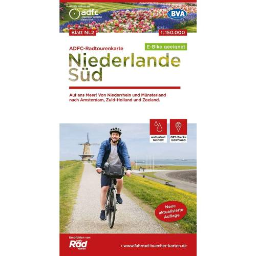 ADFC-RADTOURENKARTE NL 2 NIEDERLANDE SÜD -  Fahrradkarten