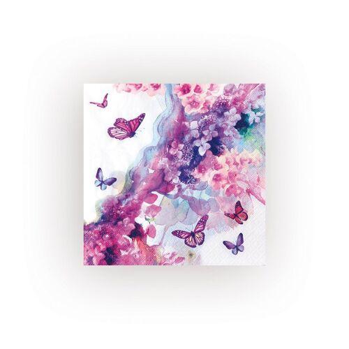 VBS Papierserviette »Schmetterling Lila«, (5 St), 33 cm x 33 cm