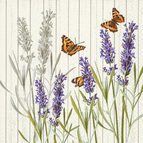 Paper+Design Papierserviette »Lavendel & Schmetterlinge«, (20 St), 33 cm x 33 cm
