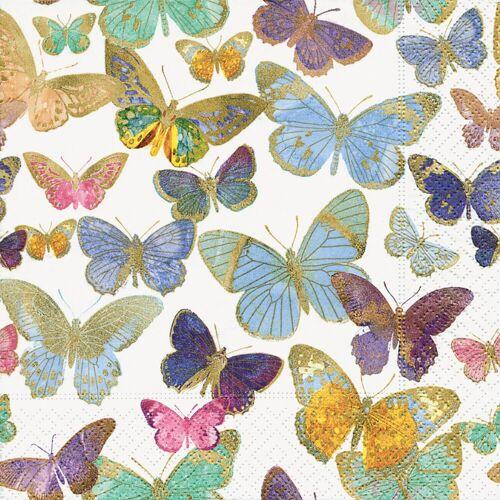 Paper+Design Papierserviette »Golden Butterflies«, (5 St), 33 cm x 33 cm