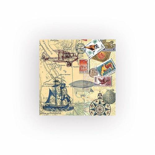 HOME FASHION Papierserviette »Weltreise«, (5 St), 33 cm x 33 cm