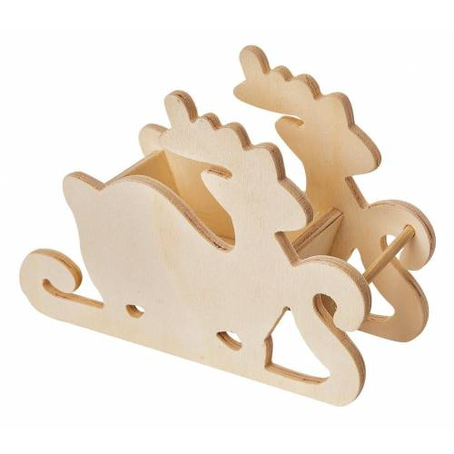 VBS Dekofigur »Holzschlitten Rentier«, 18 cm x 12,5 cm x 7 cm