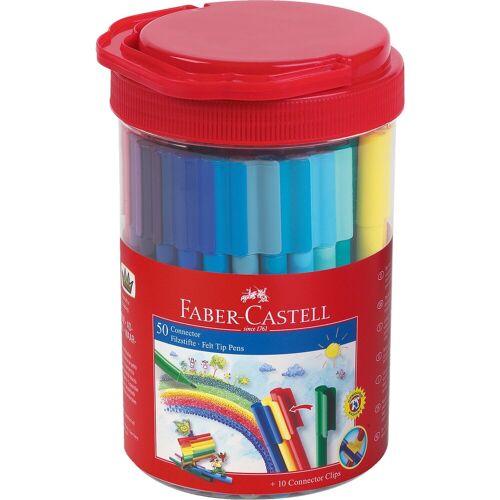 Faber-Castell CONNECTOR Pen Filzstifte, 50 Farben, Runddose