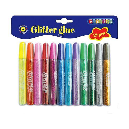 Playbox Glitzer-Klebestifte, 12 Farben