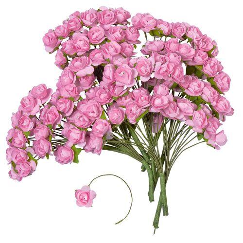 VBS Großhandelspackung Kunstblume »Papier-Röschen«, , 144 Stück, Rosé