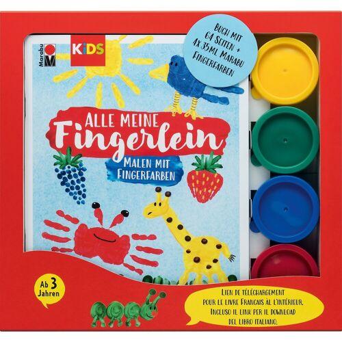 Marabu KIDS Malen mit Fingerfarben, Buch mit 4 x 35 ml Fingerfarbe