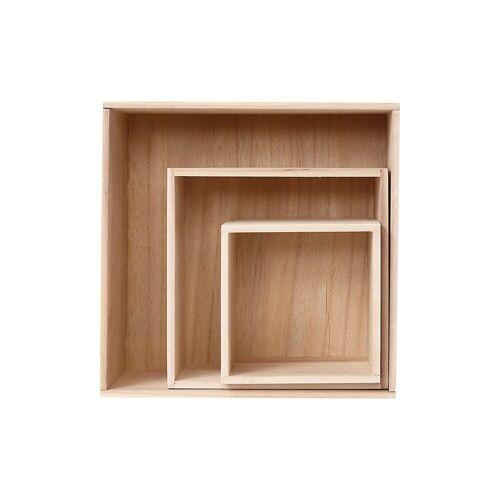 Holzkasten-Set, H 15+21,5+28 cm, B 15+21,5+28 cm, 3 Stck., K