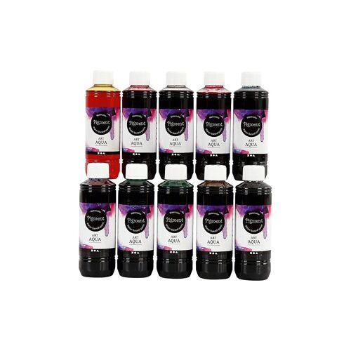 ART Aqua Pigment Aquarellfarbe, 10x250 ml, sortierte Farben