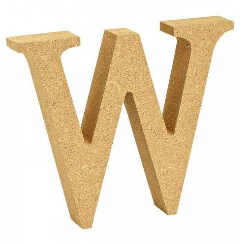 """VBS Buchstaben """"MDF"""" 8 cm x 1,5 cm, Buchstabe """"W"""""""