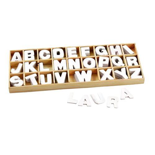 VBS Holz-Buchstabensortiment, 156 weiße Buchstaben