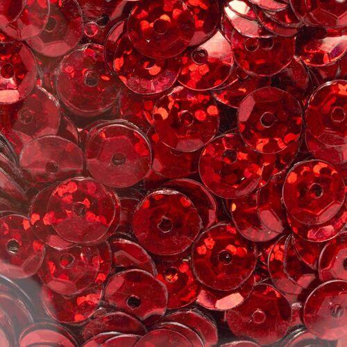 Pailletten gewölbt, Hologramm, Ø6mm, 500 Stück, Rot