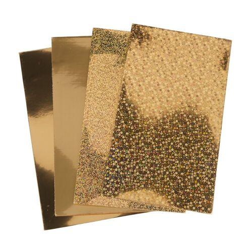 """Verzierwachs-Set """"4 Wachsplatten"""" 15,5 cm x 9 cm, Gold"""