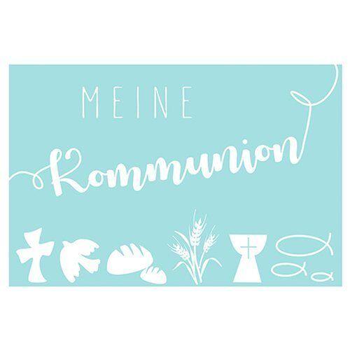 """Wachsmotiv """"Meine Kommunion"""" 6 cm x 4 cm, Pastell-Blau"""