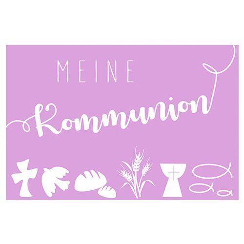 """Wachsmotiv """"Meine Kommunion"""" 6 cm x 4 cm, Pastell-Rosé"""