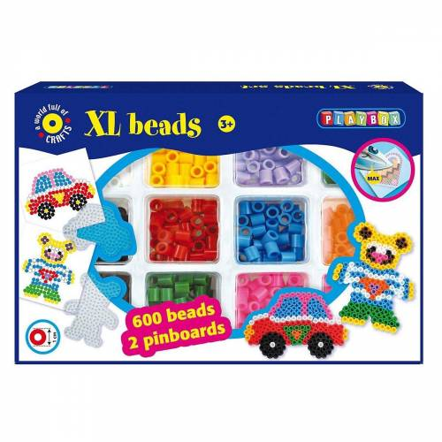 Playbox Bügelperlen »XL-Bügelperlen Auto & Bär, 600 Perlen & Zubehör«
