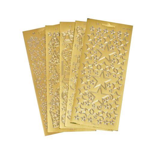 VBS Sticker »Reliefsticker-Set Xmas«, 5 Blatt, Gold