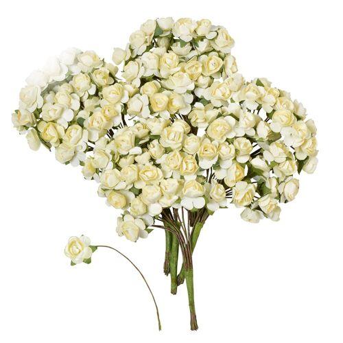 VBS Großhandelspackung Kunstblume »Papier-Röschen«, , 144 Stück, Weiß