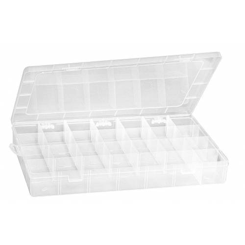 VBS Aufbewahrungsbox, Kunststoff, mit 28 Fächer, 34,5 cm x 21,5 cm x 4,5 cm