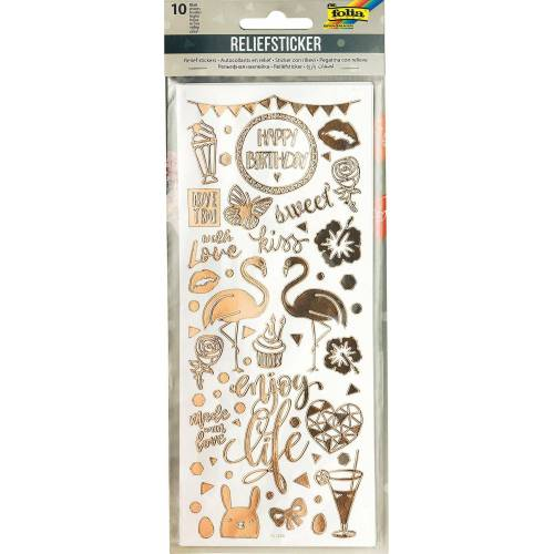 Folia Sticker »Relief-Sticker Party, 10 Blatt«