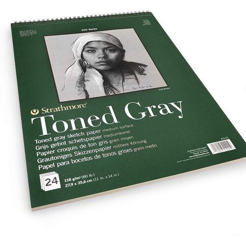 Strathmore Artist Papers™ Zeichenblock »Skizzen-Papier Toned Gray, Spiralblock, 27,9 x 35,6 cm, 118 g/m², 24 Blatt«