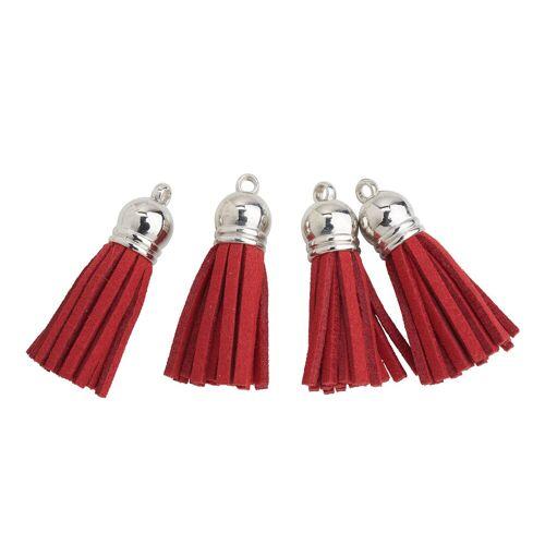 VBS Anhänger Set »Lederquasten«, 4 Stück, Silber/Rot