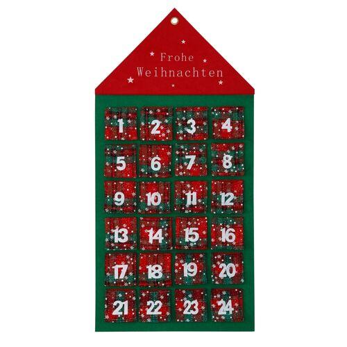 befüllbarer Adventskalender »Haus«, zum Hängen aus Filz, 46 x 92 cm