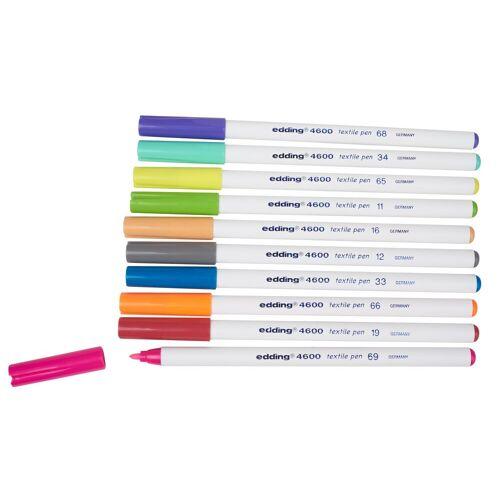 EDDING Textilmarker »Textilstifte Set Brilliant Colours 4600«, 10er-Set, Multi