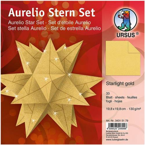 URSUS Papierdekoration »Faltblätter Aurelio Stern gold matt, 19,8x19,8 cm«