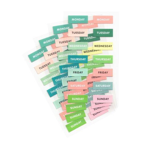 Rico-Design Verlag Sticker »Wochentage«, 56 Stück