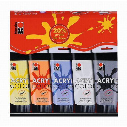 Marabu Malpalette »AcrylColor Sortierung 5 x 100 ml«