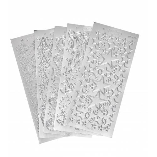 VBS Sticker »Reliefsticker-Set Xmas«, 5 Blatt, Silber