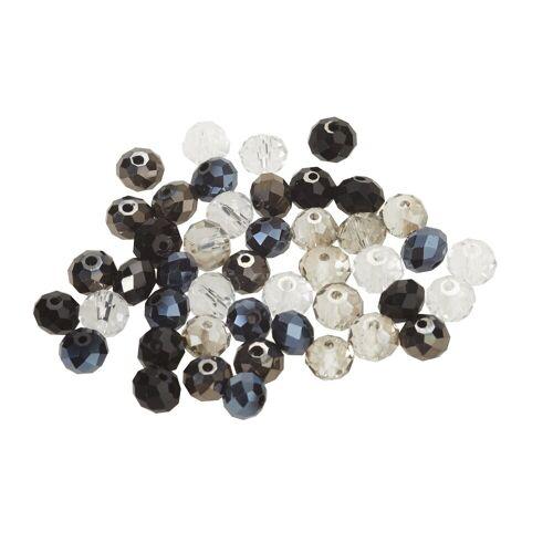 Diamond Dotz Bastelperlen, Ø 8 mm, Schwarz/Kristall