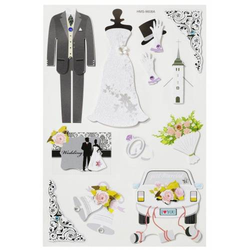 HobbyFun Sticker »Hochzeit II«, 3D, 12 Stück