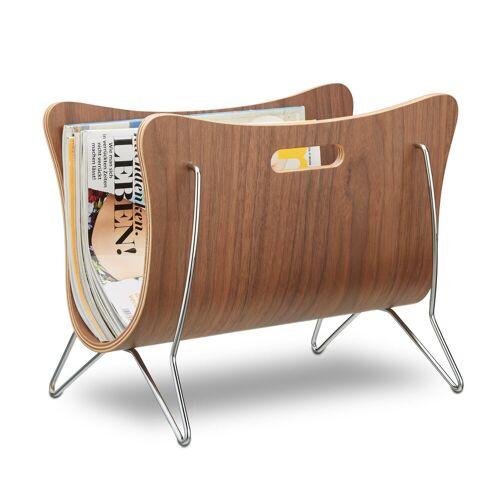 relaxdays Zeitungsständer »Zeitungsständer aus Holz braun gebogen«