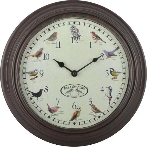 esschert design Wanduhr »Uhr mit Vogelgezwitscher Ø30 cm«