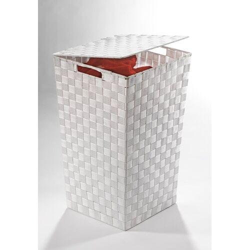 Home affaire Wäschekorb, aus Nylon und Metall, weiß