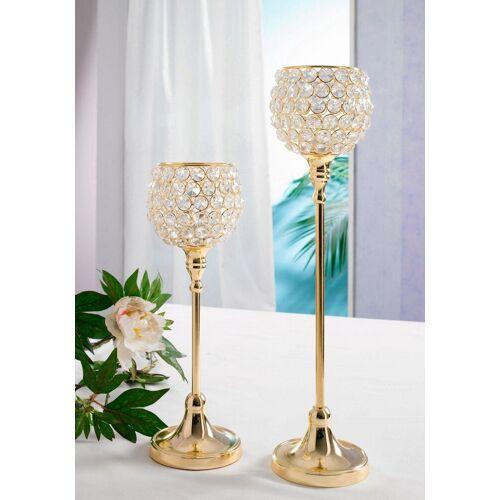 Home affaire Teelichthalter »Kristall« (Set, 2 Stück), goldfarben