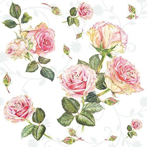 Ambiente Papierserviette »Romantische Rosen«, (20 St), 33 cm x 33 cm