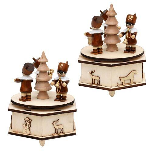 SIGRO Weihnachtsfigur »Holz Spieldose mit Bergmannfiguren«