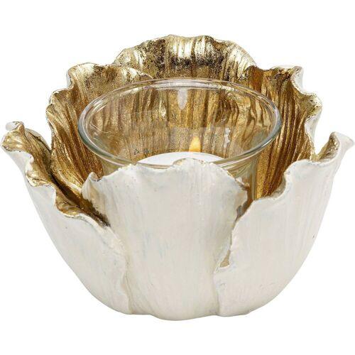 KARE Kerzenständer »Teelichthalter Flower Bloom Creme Gold 10«