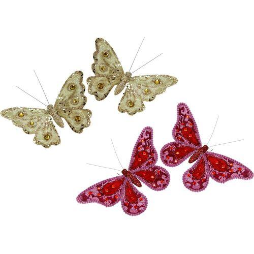 I.GE.A. Dekofigur »Deko-Schmetterling mit Clip«, (4er Set)