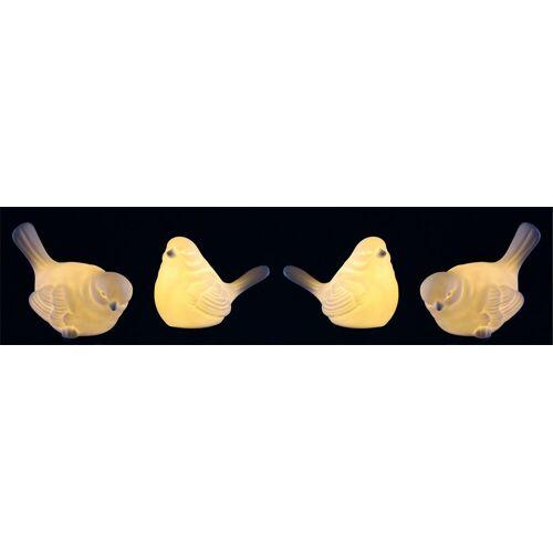 I.GE.A. Dekofigur, LED-Porzellan-Vogel (4er Set)