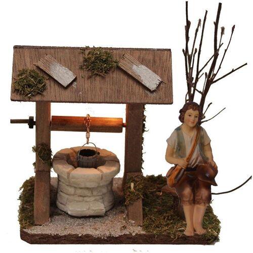 Alfred Kolbe Krippen-Zubehör »Brunnen mit Beleuchtung und Figur Hirte sitzend« (Set, 2 Stück)