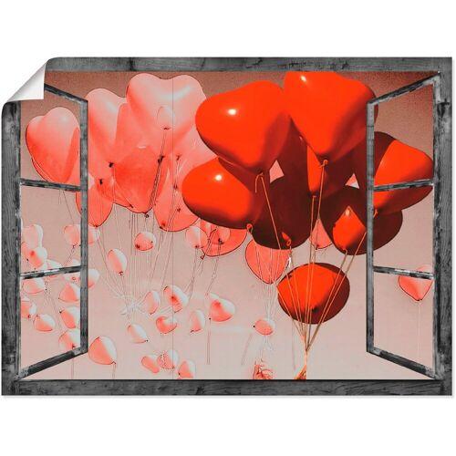 Artland Wandbild »Fensterbild - Rote Herzen«, Fensterblick (1 Stück)