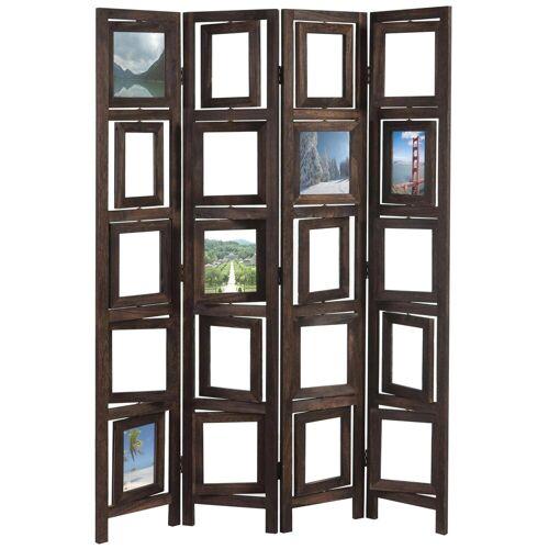 MCW Paravent »Bildgalerie II«, Fenster mit je zwei Plexiglasplatten, 4 Paneele, Mit drehbaren Fotofenstern, braun
